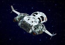 Nave espacial acima da opinião da parte traseira das nuvens ilustração stock