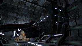 Nave espacial animada en un pasillo futurista 4K almacen de metraje de vídeo