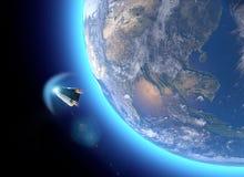 Nave espacial, cápsula orbital del portador del equipo Órbita alrededor de la tierra Vista por satélite de la tierra libre illustration