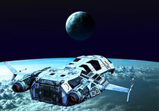Nave espacial caming de nuevo al claro de luna stock de ilustración