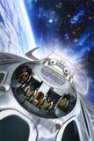 Nave espacial con el equipo en órbita stock de ilustración