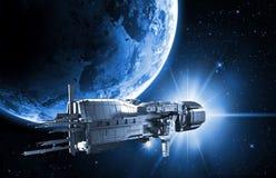 Nave espacial con tierra del planeta stock de ilustración