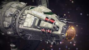 Nave espacial da carga que atravessa a ilustração do espaço 3d Imagem de Stock Royalty Free