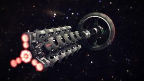 Nave espacial da carga que atravessa a ilustração do espaço 3d Fotos de Stock