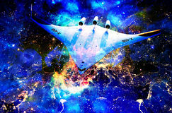 A nave espacial da NASA na noite do espaço e da cidade cósmicos da terra ilumina a colagem Imagens de Stock