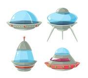 Nave espacial de la historieta, naves espaciales y sistema extranjeros del vector del UFO Foto de archivo libre de regalías