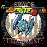 A nave espacial decola na perspectiva do planeta ilustração do vetor