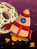 Nave espacial del cohete de la historieta con el fondo del espacio Imágenes de archivo libres de regalías