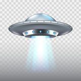 Nave espacial del vuelo del UFO en el vector blanco Imagen de archivo libre de regalías