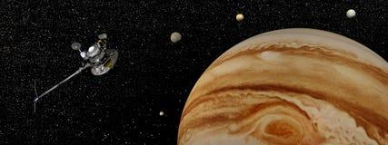 Nave espacial do explorador perto de Jupiter e de seus satélites - 3D rendem Imagem de Stock Royalty Free