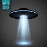 Nave espacial do UFO com feixe luminoso no fundo do transparnt Vetor Fotografia de Stock Royalty Free