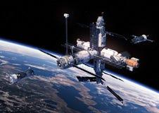 A nave espacial dois está preparando-se para entrar com estação espacial Fotografia de Stock