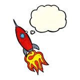 nave espacial dos desenhos animados com bolha do pensamento Foto de Stock