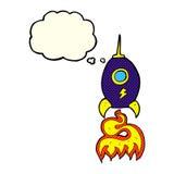 nave espacial dos desenhos animados com bolha do pensamento Imagens de Stock