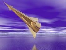 Nave espacial dourada ilustração do vetor