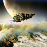 Nave espacial em mundos distantes ilustração royalty free