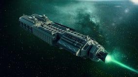 Nave espacial en el espacio, vuelo de la nave espacial a través del universo ilustración del vector