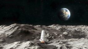 Nave espacial en la superficie de la luna stock de ilustración