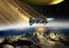 Nave espacial en palabras lejanas stock de ilustración