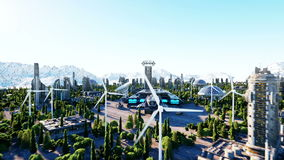 Nave espacial en una ciudad futurista, ciudad El concepto del futuro Silueta del hombre de negocios Cowering Animación realista e libre illustration