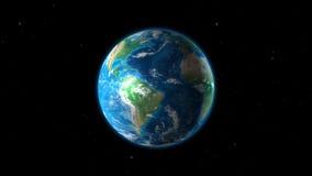 A nave espacial está aproximando a terra, através das estrelas ilustração stock