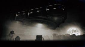 Nave espacial estrangeira do triângulo sobre a exploração agrícola na noite ilustração do vetor