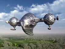 Nave espacial estrangeira na atmosfera de terra ilustração do vetor