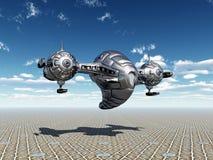 Nave espacial estrangeira na atmosfera de terra ilustração stock