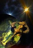 Nave espacial estrangeira que viaja através do espaço ilustração stock