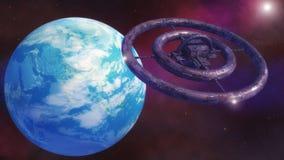Nave espacial extranjera futurista Foto de archivo