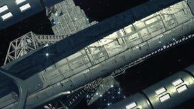 Nave espacial interestelar perto de um planeta estrangeiro ilustração do vetor