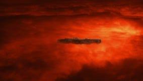 Nave espacial na atmosfera raging acima do planeta vermelho ilustração royalty free