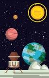 Nave espacial na lua ilustração royalty free