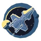 Nave espacial, nave espacial en el espacio, planeta Imagenes de archivo