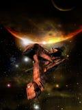 Nave espacial no cosmos Imagens de Stock