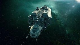 Nave espacial no espaço, voo da nave espacial através do universo ilustração stock