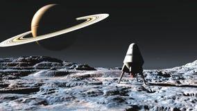 Nave espacial no planeta estrangeiro ilustração stock