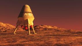 Nave espacial no planeta estrangeiro ilustração royalty free