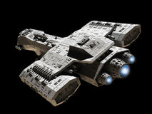 Nave espacial no preto com fulgor azul do motor Imagens de Stock Royalty Free