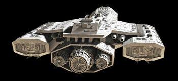Nave espacial no preto - vista traseira ilustração do vetor