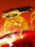 Nave espacial perto de uma estrela ilustração do vetor