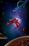 Nave espacial, planetas e espaço. ilustração do vetor