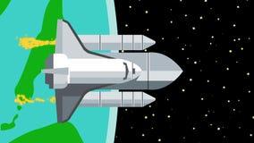 Nave espacial que deja la tierra al espacio exterior libre illustration