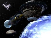 Nave espacial que orbita o planeta azul Imagem de Stock