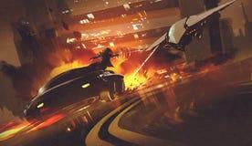 Nave espacial que persegue o carro futurista na estrada, ilustração stock