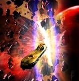 Nave espacial que se escapa de la colisi?n de los mundos ilustración del vector