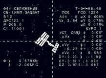 Nave espacial rusa ISS de HUD en el ejemplo de la ciencia ficción de la exhibición Foto de archivo libre de regalías