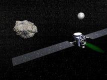 Nave espacial, Vesta e Ceres do alvorecer - 3D rendem Fotos de Stock Royalty Free