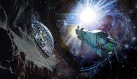 Nave espacial y asteroide ilustración del vector
