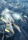 Nave espacial y ciudad futurista Foto de archivo libre de regalías